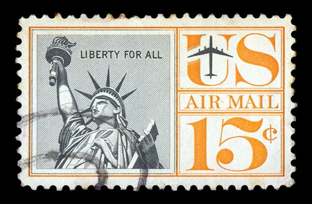 cancelled stamp: UNITED STATES - CIRCA 1961. Vintage canceled postage stamp with statue of liberty illustration, circa 1961.