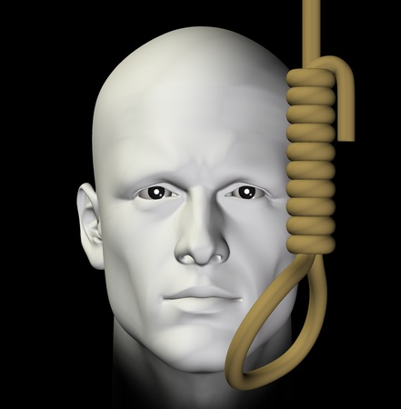 suicidal: Suicidal man and hanging noose on black background. 3d illustration.
