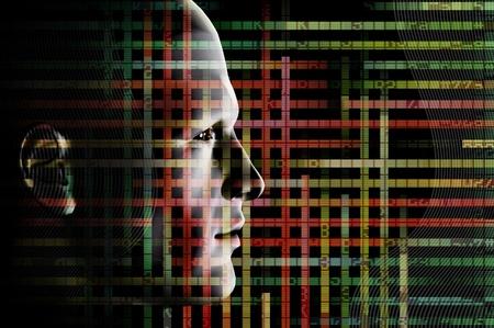 hacking: Codice cablato uomo e computer. 3d astratto futuristica illustrazione. Archivio Fotografico