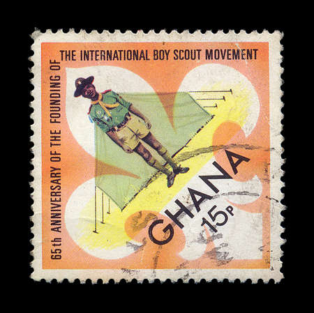 65th: GHANA - CIRCA 1972. Vintage postage stamp printed for the 65th anniversary of the founding of the international boy scout movement, circa 1972. Stock Photo