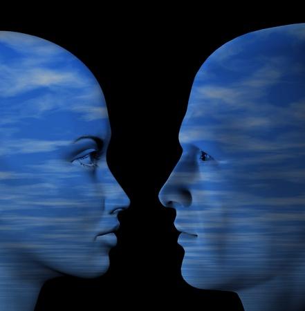3d: Homme et femme couple humain. illustration 3D. Banque d'images