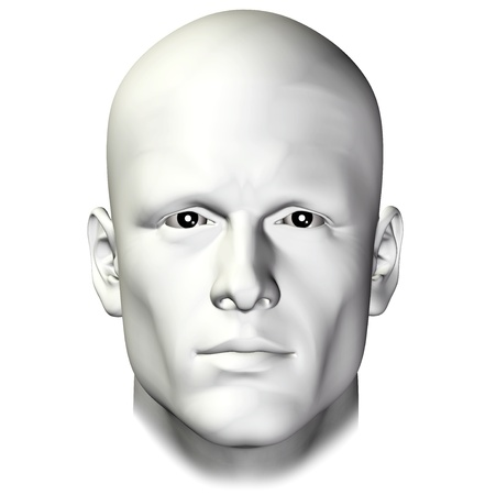 Man portrait on white background. 3d illustration design element. Stok Fotoğraf
