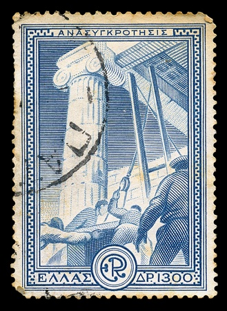 GREECE - CIRCA 1951. Vintage postage stamp printed for the financial aid program Marshall Plan under the U.S. assistance for the reconstruction of Europe, with workers restoring ancient monument illustration, circa 1951. illustration