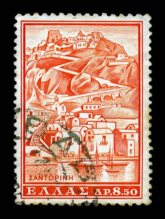 caldera: GREECE - CIRCA 1961. Vintage canceled postage stamp with illustration of the island of Santorini, circa 1961.