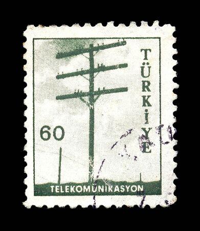 TURKEY - CIRCA 1960s. Vintage postage stamp with telephone pole telecommunications illustration, circa 1960. illustration