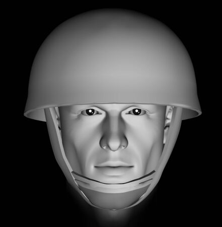 Male soldier head portrait with dramatic light on black background. 3d illustration. Stock Illustration - 9502957