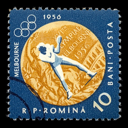 ROMANIA - CIRCA 1956. Vintage postage stamp printed by the Romanian Post for the 1956 Melbourne Summer Olympics with boxing sports illustration, circa 1956. Stock Photo - 9609478