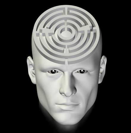 moody: Man in a complex maze of deep thought. 3d conceptual illustration. Stock Photo