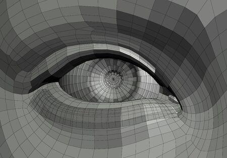 eye anatomy: Mechanical human eye wire frame 3d illustration. Stock Photo