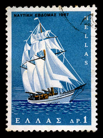 GREECE - CIRCA 1967. Vintage postage stamp printed by the Hellenic Post for the Nautical Week shows sailboat at open sea illustration, circa 1967. illustration