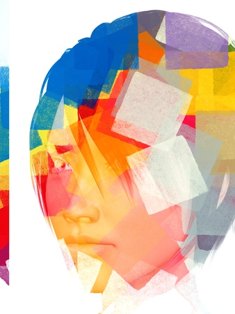 Female portrait and abstract geometric pattern. 3d illustration. illustration