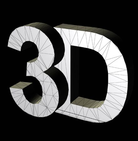 3 d illustrations: 3d three dimensional letters wire frame computer generated symbol illustration. Stock Photo