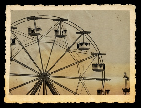 tattered: Vintage photograph of ferris wheel and carousel horse in amusement park.