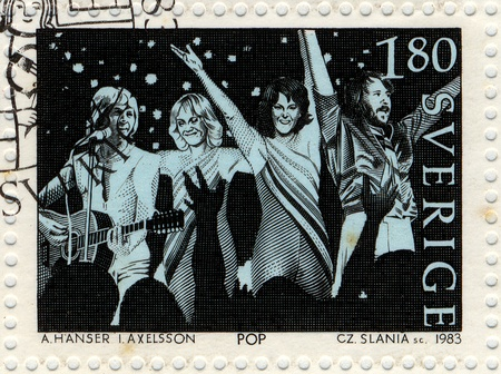issued: SWEDEN - CIRCA 1983  Vintage postage stamp issued by the Swedish Post to honor the pop music group Abba, circa 1983  Editorial
