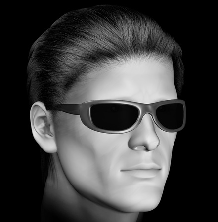 Man with dark sunglasses 3d illustration  Black and white  illustration