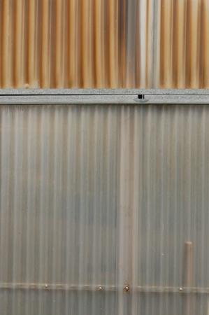 fence panel: Aluminum and corrugated plastic background. Greenhouse construction detail. Stock Photo