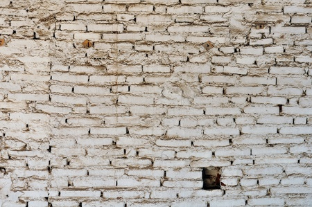 Dirty and weathered white brick wall background texture. Stock Photo - 13547486