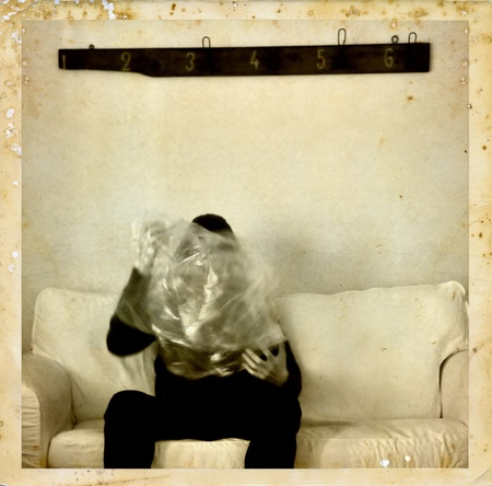 Psychic medium with ectoplasm antique style photo composite  Spirit photography  Stock Photo