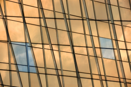 Modern building glass panel facade double exposure. Abstract windows background. photo