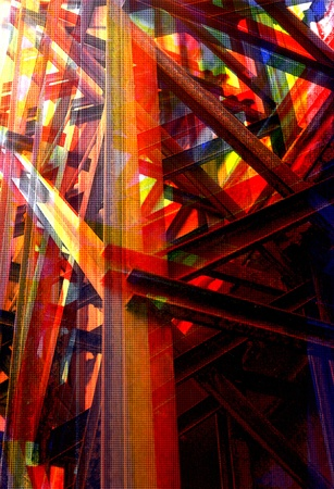 girders: Steel girders industrial structure. Overlapping colors abstract halftone illustration.