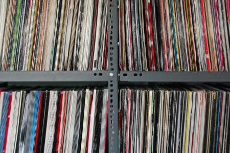 electronica: Vinyl music records storred on metal shelves.