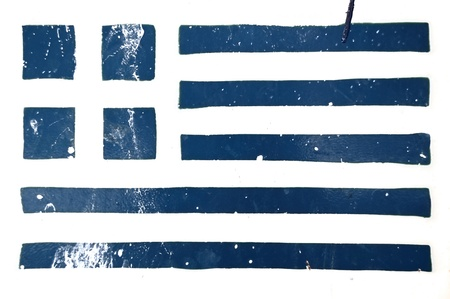 Greek flag stencil smudged and weathered grunge background. photo