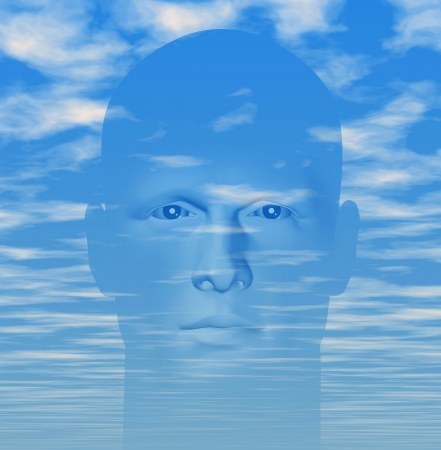 Man portrait against cloudy blue sky. Digitally created 3d illustration.