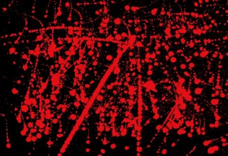 blood splatter: Messy red ink splashed on black background abstract paint splash illustration.
