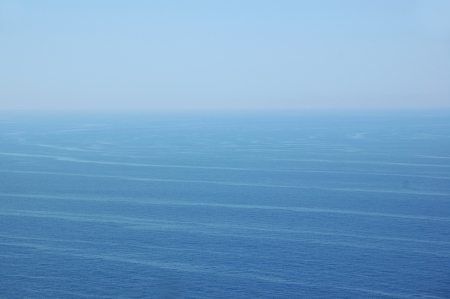 Ocean currents deep sea water and sky horizon. Nature background. photo