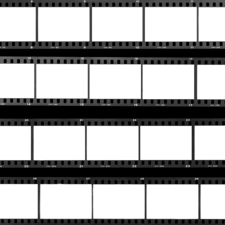 Blank film frames overexposed contact sheet analog filmstrip background.