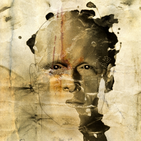 disappear: Rough sketch of man on grungy paint stained paper background. 3d illustration.