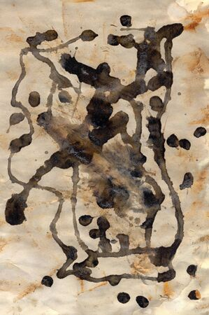 paint drip: Rust stains and abstract paint drip on old paper. Grungy background texture.