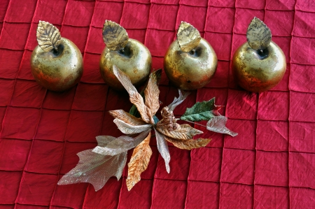 Golden apples and plastic flower. Christmas vintage decorative objects. Stock Photo - 16452302