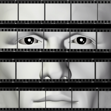contact details: Man portrait on contact sheet filmstrip photo background. 3d illustration.