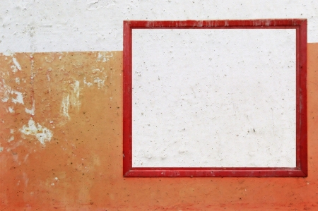 Red grunge frame on smudged peeling wall background  Abstract design element  Stock Photo - 16761210