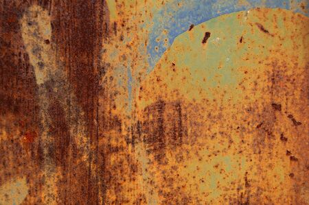 Rusty grunge metal background with paint stains  Abstract macro texture  Stock Photo - 16761199
