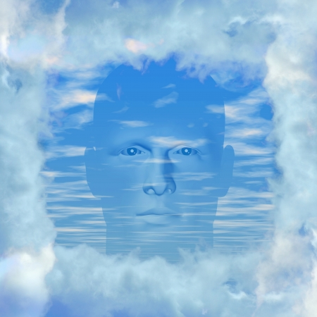 blue sky thinking: Man with head in the clouds. Digitally created 3d illustration. Stock Photo