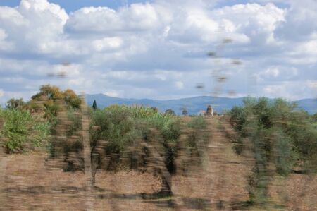 glimpse: Cultivated fields in Peloponnese, Greece. Motion blur, shot through moving car.