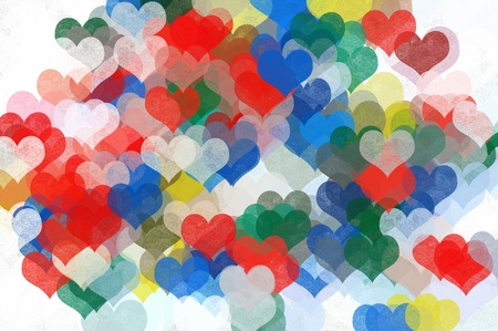 Colorful painted hearts background illustration. Grunge abstract pattern. illustration