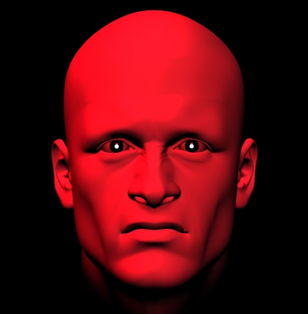 diabolical: Man with fiery eyes, red with anger. 3d illustration.