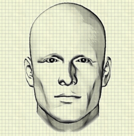 millimetre: Sketch of male figure portrait drawing of mans head on graph paper background
