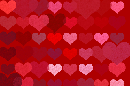 Romantic hearts on red background abstract grungy illustration. illustration