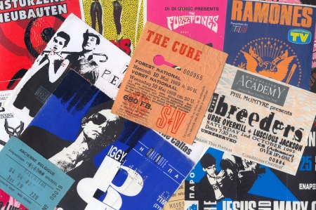 memorabilia: ATHENS, GREECE - DECEMBER 22, 2013: Vintage concert ticket stubs punk and alternative rock music memorabilia from the 80s and 90s.