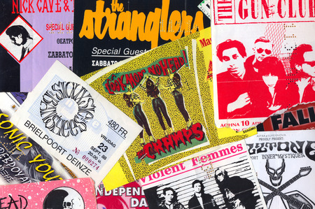 memorabilia: ATHENS, GREECE - FEBRUARY 24, 2014: Vintage live gig concert tickets punk and indie rock music memorabilia from the 1980s and 1990s. Editorial