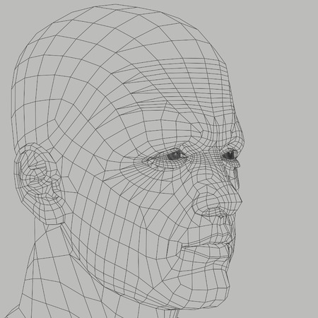 rendered: Man wireframe 3d illustration. Head and face human figure abstract outline.
