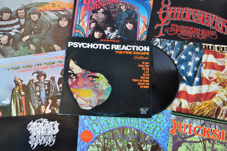 freak out: ATHENS, GREECE - APRIL 2, 2014  Psychedelic rock and garage punk music from the 1960s  Vintage vinyl records cover art