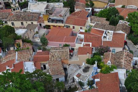 Panoramic view of the traditional Anafiotika neighborhood a maze of narrow streets and small houses  photo
