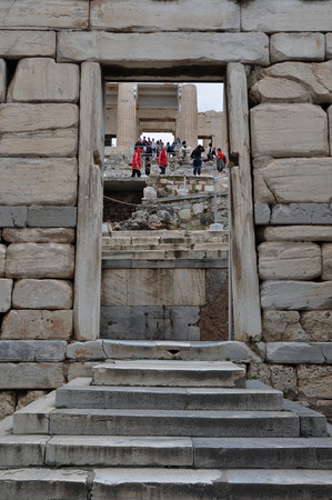 doorframe: ATHENS, GREECE - MAY 6, 2014  The Beule Gate and view of Propylaia west entrance to the Acropolis, Athens Greece