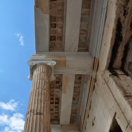 Ionic column and marble ceiling ancient architecture detail  Acropolis Propylea, Athens Greece  Stock Photo - 29153571