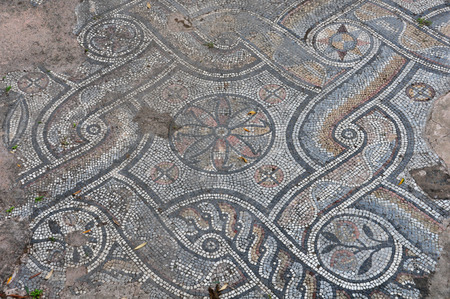 mosaic floor: Ancient roman floor mosaic with geometric shapes motif and floral pattern  Abstract background